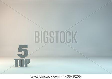 top 5 on background,3d illustration