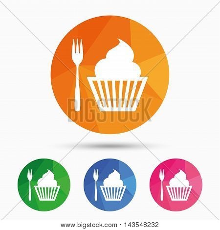Eat sign icon. Dessert trident fork with muffin. Cutlery symbol. Triangular low poly button with flat icon. Vector