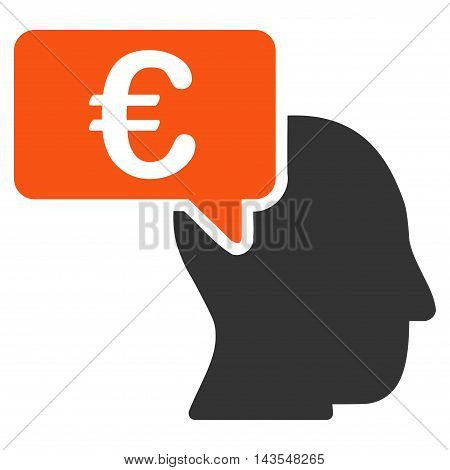 Euro Businessman Idea icon. Vector style is bicolor flat iconic symbol with rounded angles, orange and gray colors, white background.