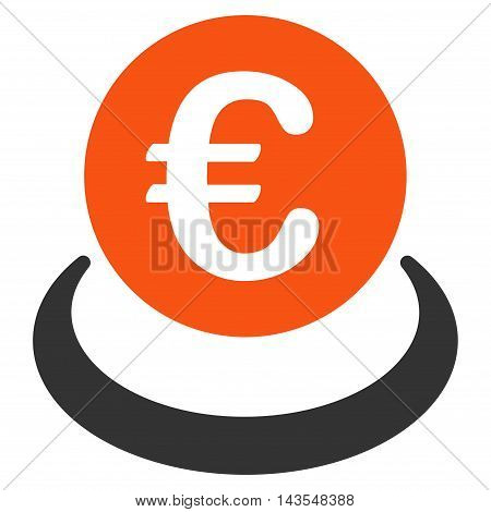 Euro Deposit icon. Vector style is bicolor flat iconic symbol with rounded angles, orange and gray colors, white background.