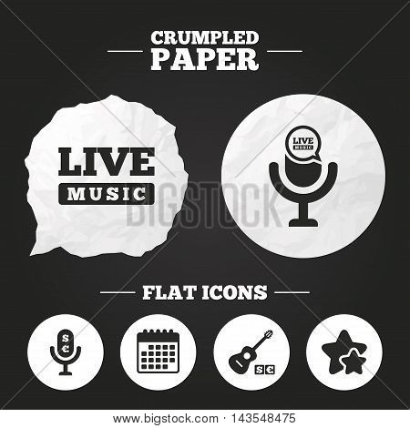 Crumpled paper speech bubble. Musical elements icons. Microphone and Live music symbols. Paid music and acoustic guitar signs. Paper button. Vector