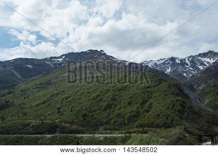 Snowcapped mountains near Alaska's Denali National Park