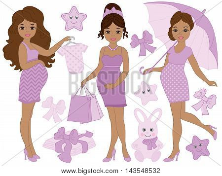 Vector African American pregnant women set with baby's clothes and toys in purple color