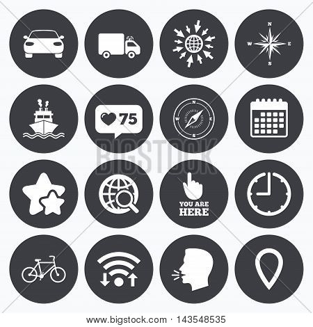 Calendar, wifi and clock symbols. Like counter, stars symbols. Navigation, gps icons. Windrose, compass and map pointer signs. Bicycle, ship and car symbols. Talking head, go to web symbols. Vector