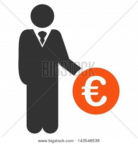 Euro Investor icon. Vector style is bicolor flat iconic symbol with rounded angles, orange and gray colors, white background.