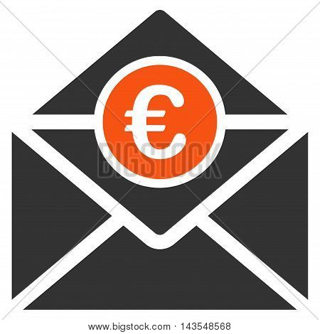 Euro Mail icon. Vector style is bicolor flat iconic symbol with rounded angles, orange and gray colors, white background.