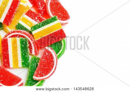 Assortment Of Colorful Fruit Jelly Candy Background. Copy Spase