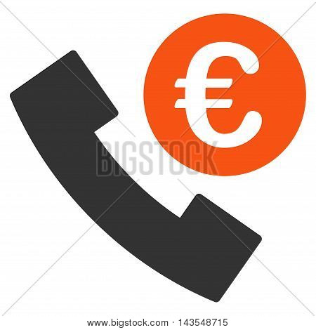 Euro Phone Order icon. Vector style is bicolor flat iconic symbol with rounded angles, orange and gray colors, white background.