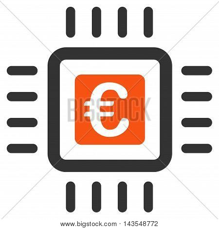 Euro Processor icon. Vector style is bicolor flat iconic symbol with rounded angles, orange and gray colors, white background.