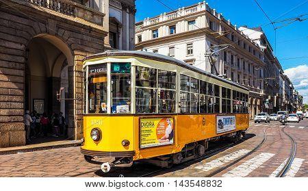Vintage Tram In Milan (hdr)
