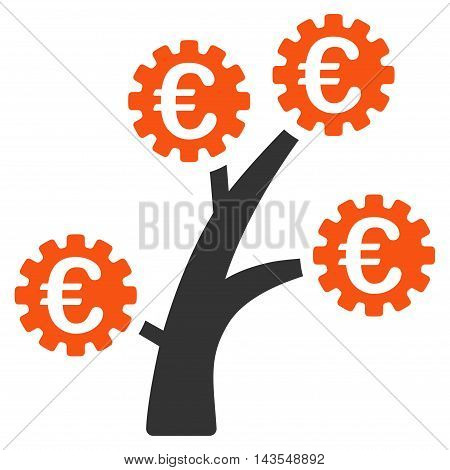 Euro Technology Tree icon. Vector style is bicolor flat iconic symbol with rounded angles, orange and gray colors, white background.