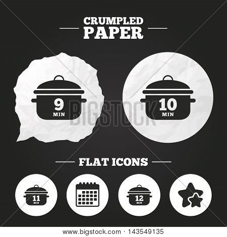 Crumpled paper speech bubble. Cooking pan icons. Boil 9, 10, 11 and 12 minutes signs. Stew food symbol. Paper button. Vector