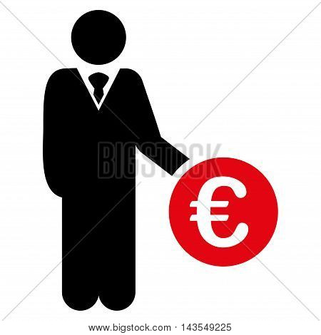 Euro Investor icon. Vector style is bicolor flat iconic symbol with rounded angles, intensive red and black colors, white background.