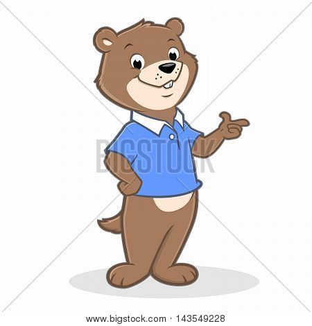 Vector illustration of a cute cartoon gopher for design element