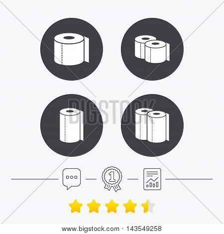 Toilet paper icons. Kitchen roll towel symbols. WC paper signs. Chat, award medal and report linear icons. Star vote ranking. Vector