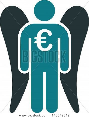 Euro Angel Investor icon. Vector style is bicolor flat iconic symbol with rounded angles, soft blue colors, white background.