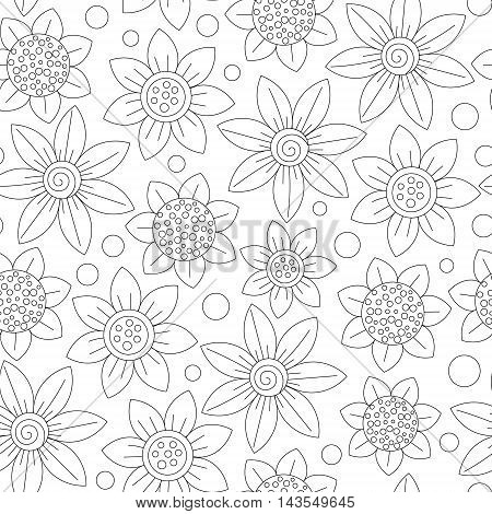Floral seamless cute pattern simple design. Primitive flowers line ornament. Black outline on white background. Coloring book page. Vector illustration