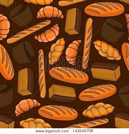 Fresh bread seamless pattern with loaves of dark rye and white bread, french croissant and baguette, braided bun with poppy seed on brown background. Bakery and pastry shop design