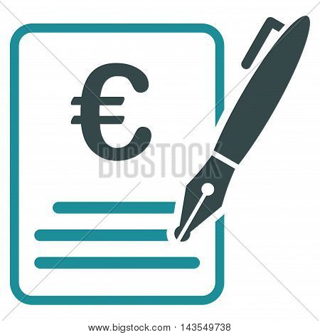 Euro Contract Signature icon. Vector style is bicolor flat iconic symbol with rounded angles, soft blue colors, white background.