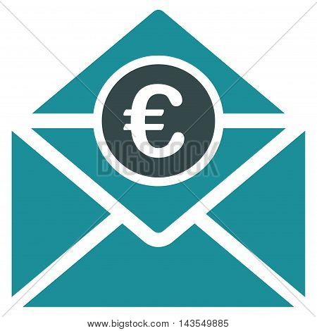 Euro Mail icon. Vector style is bicolor flat iconic symbol with rounded angles, soft blue colors, white background.
