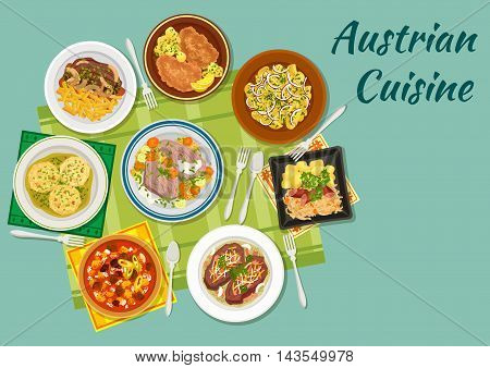 Austrian cuisine flat icon with wiener schnitzel, meat stew goulash, sauerkraut with sausage, potato salad, beef tafelspitz, roast beef esterhazy, bread dumplings knodel, roast beef with fried onion