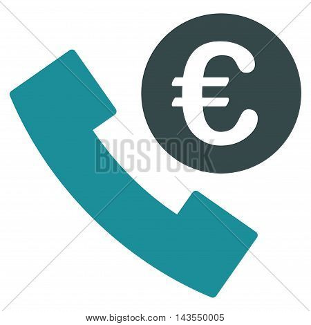 Euro Phone Order icon. Vector style is bicolor flat iconic symbol with rounded angles, soft blue colors, white background.