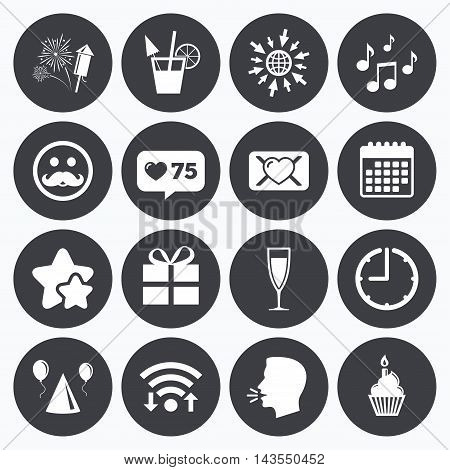 Calendar, wifi and clock symbols. Like counter, stars symbols. Party celebration, birthday icons. Musical notes, air balloon and champagne glass signs. Gift box, fireworks and cocktail symbols. Talking head, go to web symbols. Vector