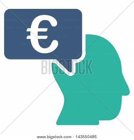 Euro Businessman Idea icon. Vector style is bicolor flat iconic symbol with rounded angles, cobalt and cyan colors, white background.