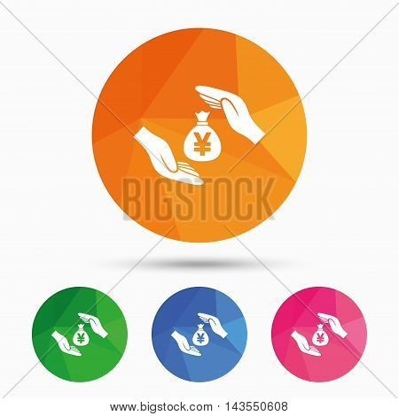 Protection money bag sign icon. Hands protect cash in Yen symbol. Money or savings insurance. Triangular low poly button with flat icon. Vector