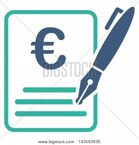 Euro Contract Signature icon. Vector style is bicolor flat iconic symbol with rounded angles, cobalt and cyan colors, white background.