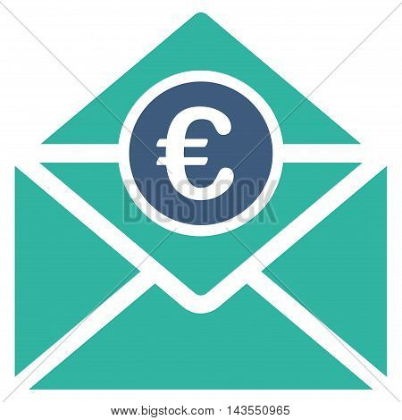 Euro Mail icon. Vector style is bicolor flat iconic symbol with rounded angles, cobalt and cyan colors, white background.