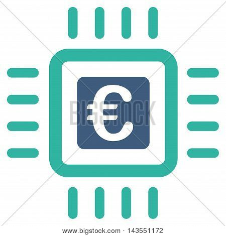 Euro Processor icon. Vector style is bicolor flat iconic symbol with rounded angles, cobalt and cyan colors, white background.