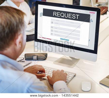 Request Membership Registration Follow Concept