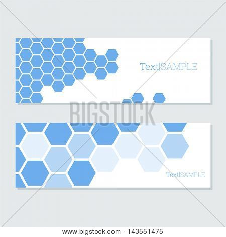 Bright blue hexagons vector cards