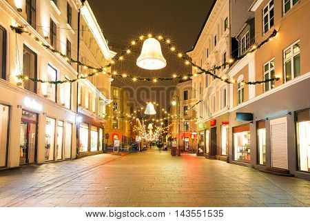 Oslo Downtown walking street at Night on New Year's Eve Day