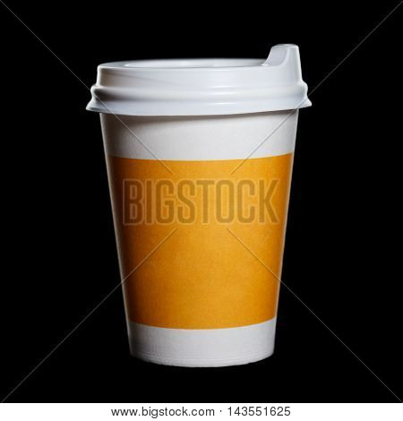 Paper Cup Of Coffee On A Black Background