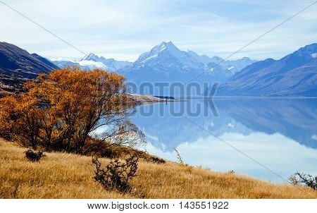 Landscape of mountain Cook Range with its reflection, New Zealand