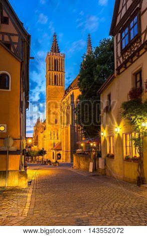 Rothenburg ob der Tauber Church, Franconia, Bavaria, Germany sunset