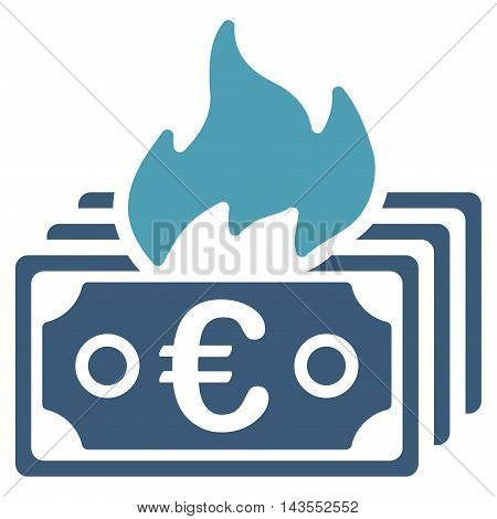Burn Euro Banknotes icon. Vector style is bicolor flat iconic symbol with rounded angles, cyan and blue colors, white background.