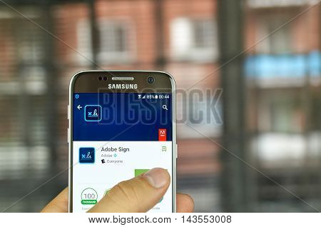 MONTREAL CANADA - JULY 15, 2016 : Adobe application on Samsung s7 screen. Adobe Sign is an e-signature solution that completely and seamlessly integrates with NetSuite.