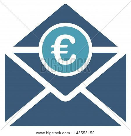 Euro Mail icon. Vector style is bicolor flat iconic symbol with rounded angles, cyan and blue colors, white background.