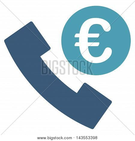 Euro Phone Order icon. Vector style is bicolor flat iconic symbol with rounded angles, cyan and blue colors, white background.