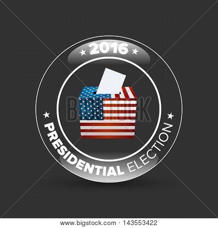 United States Election Vote Badge with shabow on black background