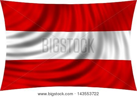 Flag of Austria waving in wind isolated on white background. Austrian national flag. Patriotic symbolic design. 3d rendered illustration