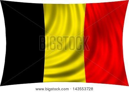 Flag of Belgium waving in wind isolated on white background. Belgian national flag. Patriotic symbolic design. 3d rendered illustration