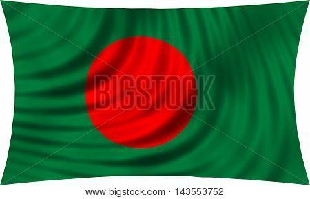 Flag of Bangladesh waving in wind isolated on white background. Bangladeshi national flag. Patriotic symbolic design. 3d rendered illustration