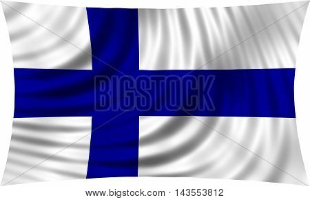 Flag of Finland waving in wind isolated on white background. Finnish national flag. Patriotic symbolic design. 3d rendered illustration