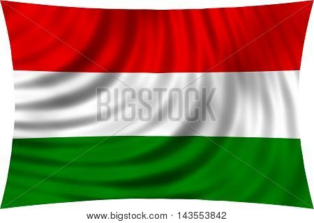 Flag of Hungary waving in wind isolated on white background. Hungarian national flag. Patriotic symbolic design. 3d rendered illustration