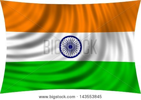 Flag of India waving in wind isolated on white background. Indian national flag. Patriotic symbolic design. 3d rendered illustration