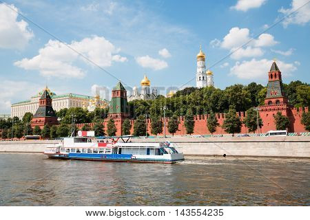 Ship on the Moscow River near the walls of the Moscow Kremlin